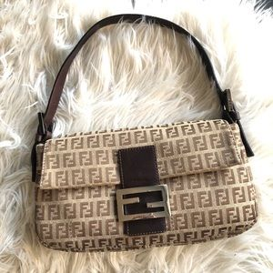 FENDI Baguette Zucchino Beige Brown Monogram Bag